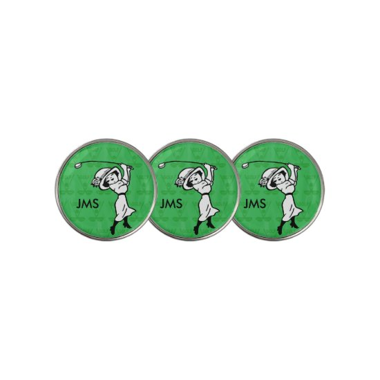 Personalized female golf cartoon golfer golf ball marker