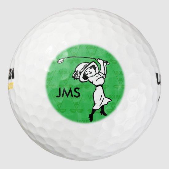 Personalized female golf cartoon golfer golf balls