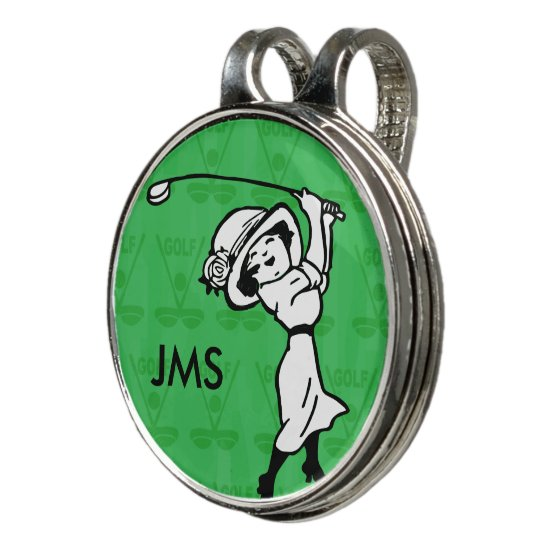 Personalized female golf cartoon golfer golf hat clip