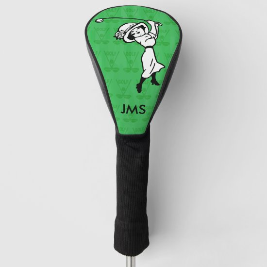 Personalized female golf cartoon golfer golf head cover
