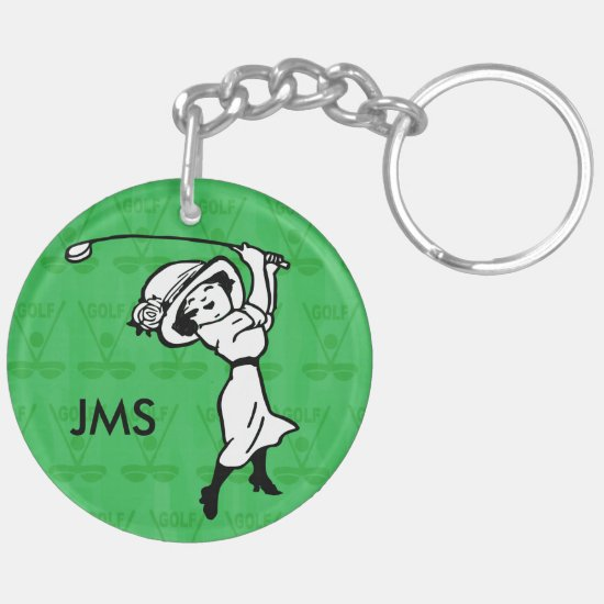 Personalized female golf cartoon golfer keychain