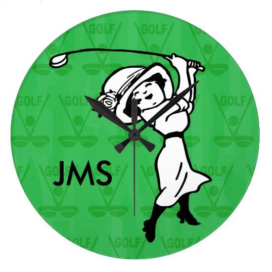 Personalized female golf cartoon golfer large clock