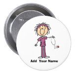 Personalized Female Stick Figure Nurse  Button