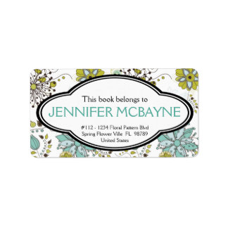 Personalized Feminine Spring Floral Bookplate