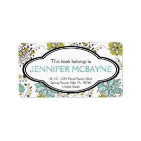 Personalized Feminine Spring Floral Bookplate Labels