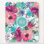 "Personalized Feminine Watercolor Floral Pattern Mouse Pad<br><div class=""desc"">A vibrant colorful watercolor floral pattern mouse pad in pink,  fuchsia,  magenta,  aqua,  turquoise and purple makes a colorful splash for your home,  school or office.  Personalize with your monogram by editing the sample text in the design template.</div>"