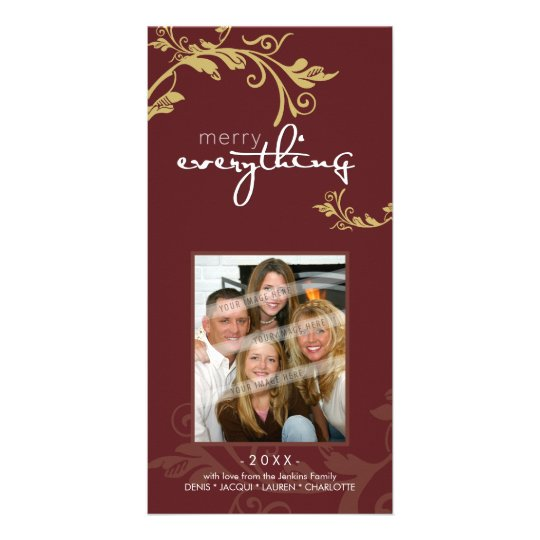 PERSONALIZED FESTIVE PHOTOCARD :: bold vine 2 Card