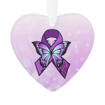 Personalized Fibromyalgia Ribbon and Butterfly Ornament