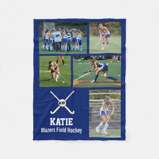 Personalized Field Hockey Photo Collage Name Team Fleece Blanket
