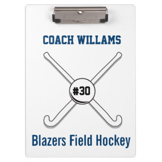 Personalized Field Hockey Team Name Jersey Number Clipboard