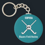 "Personalized Field Hockey Team Name Jersey Number Keychain<br><div class=""desc"">This personalized field hockey design features 2 crossed field hockey sticks, a ball and your player&#39;s or coach&#39;s name, team name and jersey number. Personalize the background color to match your team colors - just click on &quot;customize&quot; and then the small eye dropper. This makes a perfect for an end...</div>"