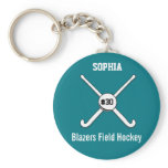Personalized Field Hockey Team Name Jersey Number Keychain