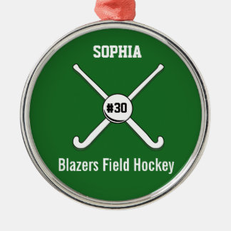 Personalized Field Hockey Team Name Jersey Number Metal Ornament