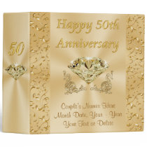 Personalized Fiftieth Wedding Anniversary Gifts 3 Ring Binder