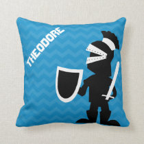 Personalized Fighting Knight Prince Blue Chevron Throw Pillow