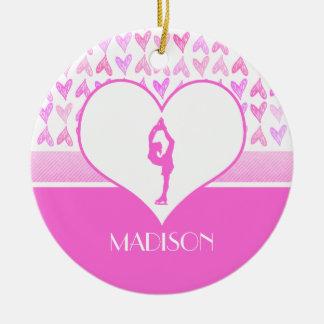 Personalized Figure Skater Pink Watercolor Hearts Ceramic Ornament