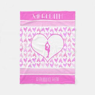 Personalized Figure Skater Pink Watercolor Hearts Fleece Blanket