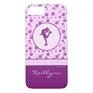 Personalized Figure Skater Purple Heart Floral iPhone 7 Case