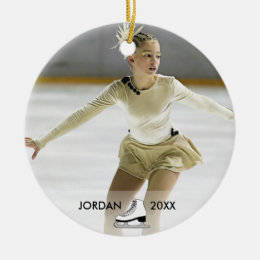 Personalized Figure Skating Skater Name Christmas Ceramic Ornament