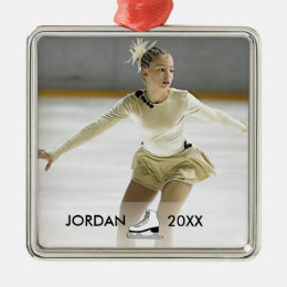Personalized Figure Skating Skater Name Christmas Metal Ornament