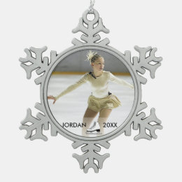 Personalized Figure Skating Skater Name Christmas Snowflake Pewter Christmas Ornament