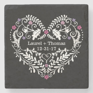 Personalized Filigree Heart, Wedding Date Names Stone Coaster