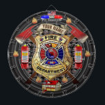 "Personalized Fire Department Dart Board<br><div class=""desc"">The perfect firefighter inspired dartboard for the firefighter or firefighting fan of the family. Features a custom fire department badge with fully customizable text. Simply change the YOUR NAME text to your city, business, or family name. You can also customize the Fire Department text at top to any text desired....</div>"