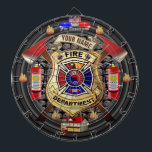 """Personalized Fire Department Dart Board<br><div class=""""desc"""">The perfect firefighter inspired dartboard for the firefighter or firefighting fan of the family. Features a custom fire department badge with fully customizable text. Simply change the YOUR NAME text to your city, business, or family name. You can also customize the Fire Department text at top to any text desired....</div>"""