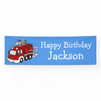 Personalized Fire Truck Boy's Birthday Banner