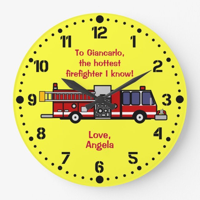 Personalized Firefighter Gift Firetruck Wall Clock