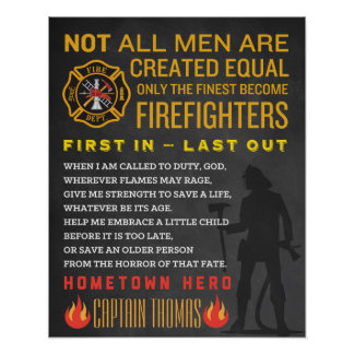 Personalized Fireman Gift. Firefighter Sign. EMT Poster