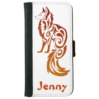 Personalized Firey Red Tribal Fox Kitsune iPhone 6 Wallet Case