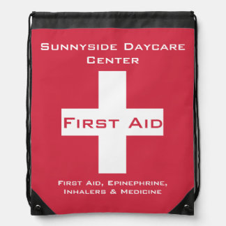 Personalized First Aid Kit Medicine Red Drawstring Bag