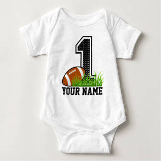 Personalized First Birthday Football Baby Bodysuit