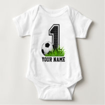 Personalized First Birthday Soccer Name Baby Bodysuit