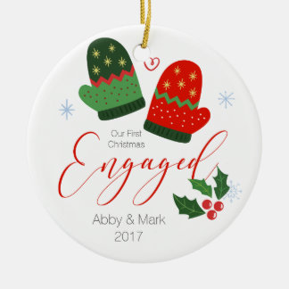 Personalized First Christmas Engaged Ornament