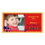 Personalized First Day of Kindergarten Custom Customized Photo Card
