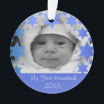 "Personalized First Hanukkah Ornament<br><div class=""desc"">Happy Hanukkah! Star of David and Menorah Design Hanukkah Ornament with personalized year,  baby name,  birth date,  and photo. The perfect way to commemorate a new bundle of joy's first holiday! Makes a great gift!</div>"