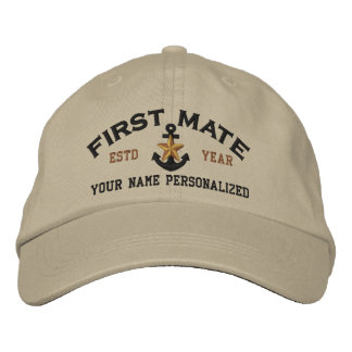 Personalized First Mate Nautical Star Anchor Embroidered Baseball Hat