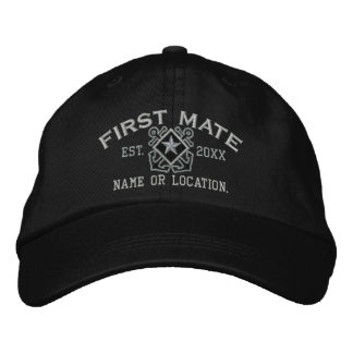 Personalized First Mate Nautical Star Embroidery Baseball Cap