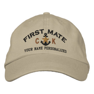 Personalized First Mate Nautical Star Initials Embroidered Baseball Cap