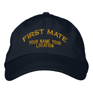 Personalized First Mate Nautical Style Hat Embroidered Hats