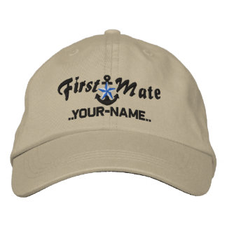 Personalized First Mate Star Anchor Black Embroidered Baseball Hat