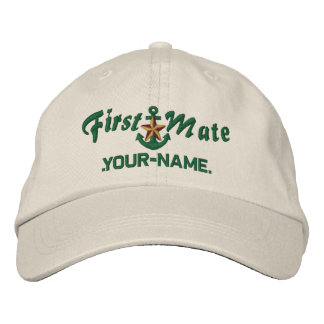 Personalized First Mate Star Anchor Green Cap