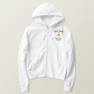 Personalized FIRST MATE Star YEAR Names Boat Embroidered Hoodie