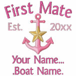 Personalized FIRST MATE Star YEAR Names Boater Embroidered Hooded Sweatshirt