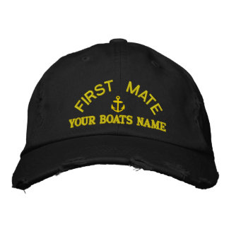 Personalized first mate  yacht crew embroidered baseball cap