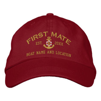 Personalized First Mate YEAR and Names Embroidered Baseball Hat