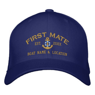 Personalized First Mate YEAR and Names Nautical Embroidered Baseball Hat