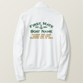 Personalized FIRST MATE YEAR Names Boat's Anchor Embroidered Jacket
